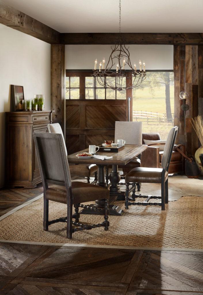Hooker 5960-75206-BRN Balcones 60in Friendship Table w/2-12in Leaves 5960-75410-BLK Comfort Upholstered Side Chair